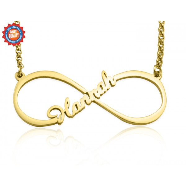 Personalised Single Infinity Name Necklace - 18CT Gold