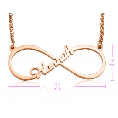 Personalised Single Infinity Name Necklace - 18CT Rose Gold