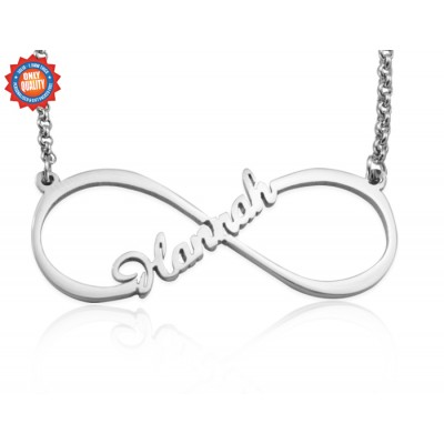 Solid Gold Single Infinity Name Necklace -