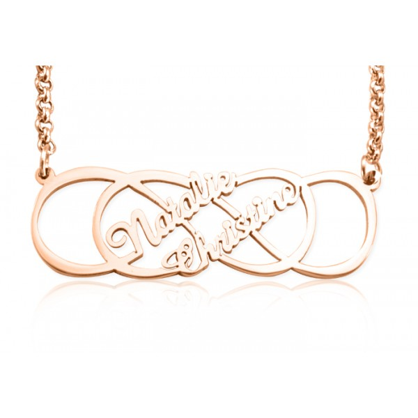 Personalised Infinity X Infinity Name Necklace - 18CT Rose Gold