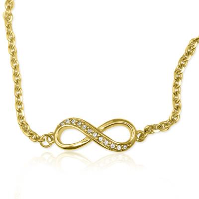 Personalised Crystal Infinity Bracelet/Anklet - 18CT Gold