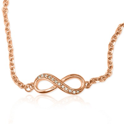Personalised Crystal Infinity Bracelet/Anklet - 18CT Rose Gold