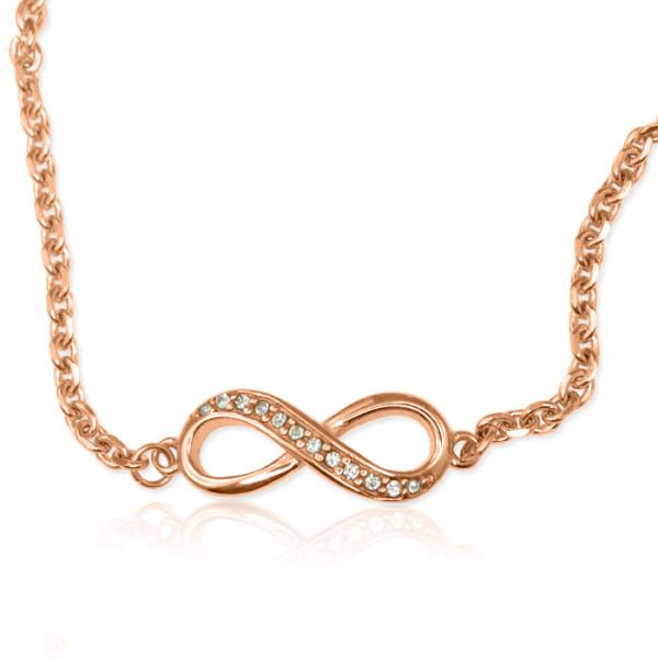 Personalised Crystal Infinity Bracelet/Anklet - 18CT Rose Gold