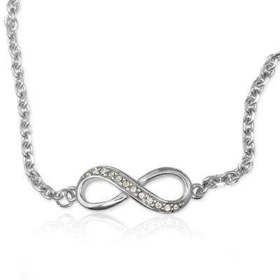 Solid White Gold Crystal Infinity Bracelet/Anklet -
