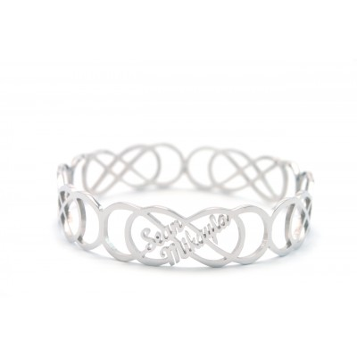 Solid White Gold Endless Double Infinity Bangles
