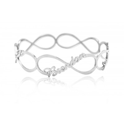 Solid White Gold Endless Single Infinity Bangle