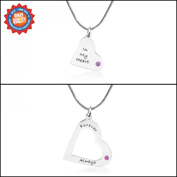 Solid Gold Mothers Heart Pendant Necklace Set