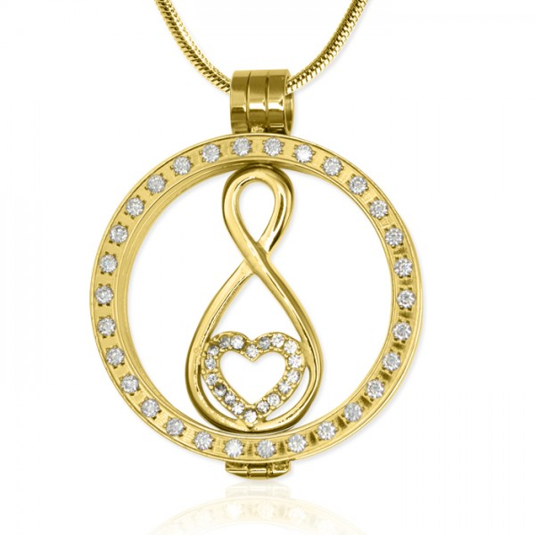 Personalised Gold Diamonte Necklace with - 18CT Gold Infinity