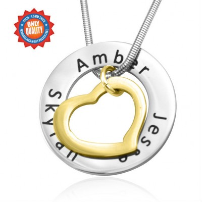 Solid Gold Heart Washer Name Necklace - TWO TONE
