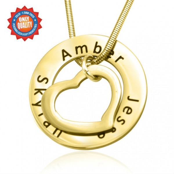 Personalised Heart Washer Necklace - 18CT Gold