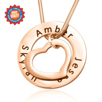 Personalised Heart Washer Necklace - 18CT Rose Gold