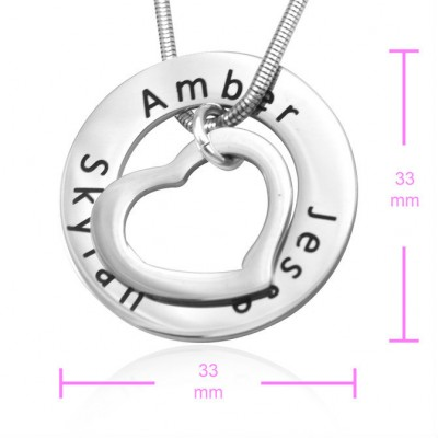 Solid Gold Heart Washer Necklace
