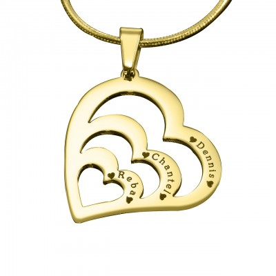 Personalised Hearts of Love Necklace - 18CT Gold