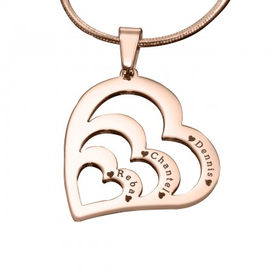 Personalised Hearts of Love Necklace - 18CT Rose Gold