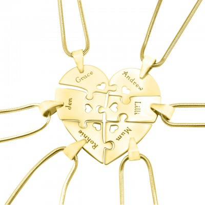 Solid Gold Hexa Heart Puzzle Necklace