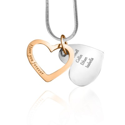 Solid Gold Love Forever Name Necklace - Two Tone