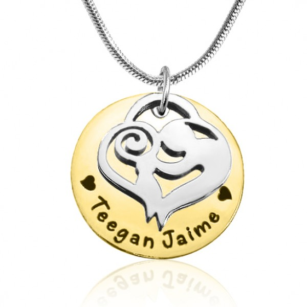Solid Gold Mother's Disc Single Name Necklace - Two Tone