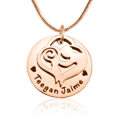 Personalised Mother's Disc Single Necklace - 18CT Rose Gold