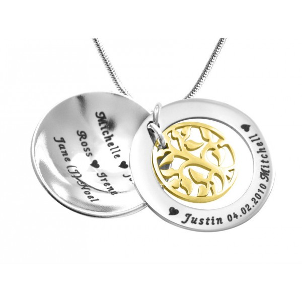 Personalised My Family Tree Dome Necklace - Two Tone - Gold Tree