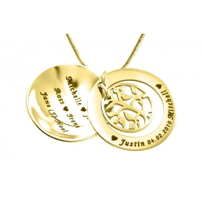 Personalised My Family Tree Dome Necklace - 18CT Gold