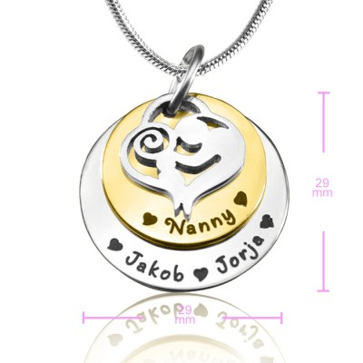 Solid Gold Mother's Disc Double Name Necklace - Two Tone