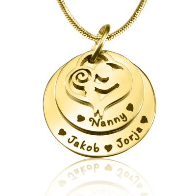 Personalised Mother's Disc Double Necklace - 18CT Gold