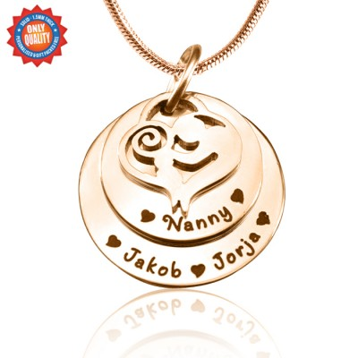Personalised Mother's Disc Double Necklace - 18CT Rose Gold