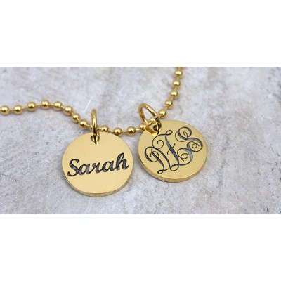 Solid Gold Monogram Initial Disc Necklace