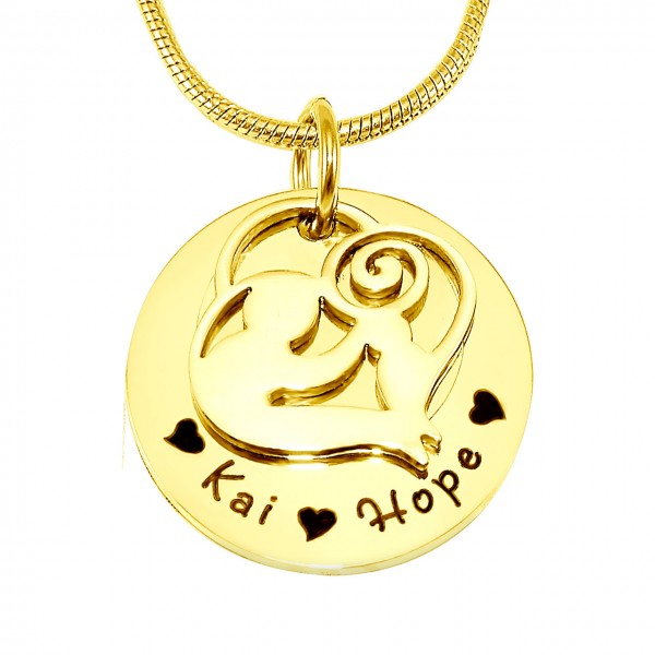 Personalised Mother's Disc Single Necklace - 18CT Gold