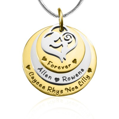 Solid Gold Mother's Disc Triple Name Necklace - TWO TONE