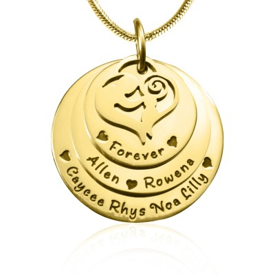 Personalised Mother's Disc Triple Necklace - 18CT Gold