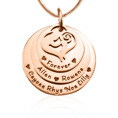 Personalised Mother's Disc Triple Necklace - 18CT Rose Gold