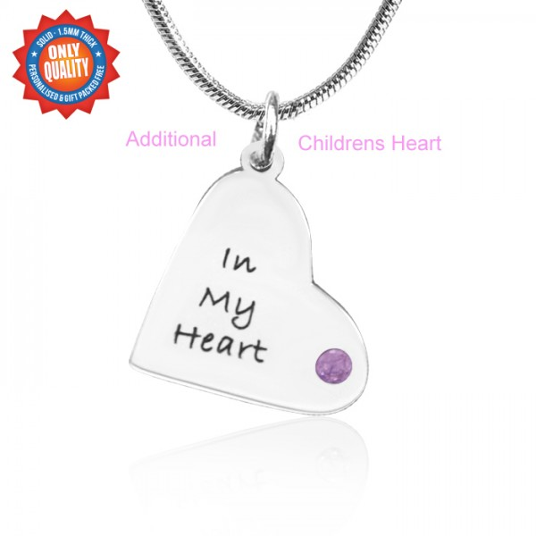 Solid White Gold Additional Childrens Heart Pendant