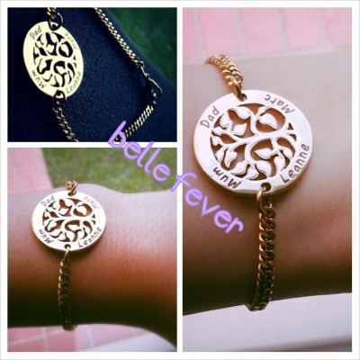 Personalised My Tree Bracelet - 18CT Gold