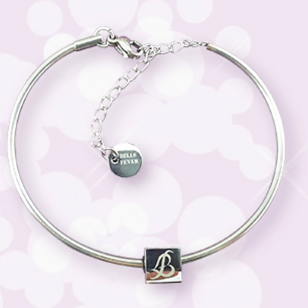 Solid White Gold Charm Bangle