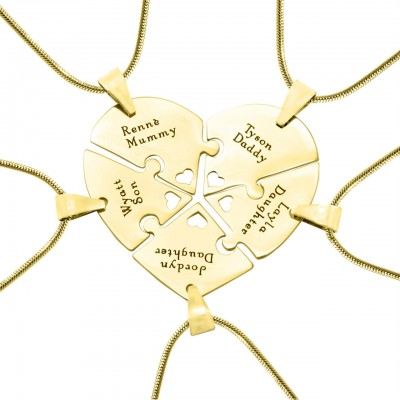Solid Gold Penta Heart Puzzle - Five Necklaces