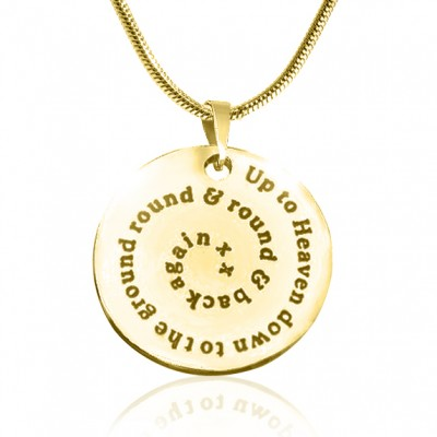 Personalised Swirls of Time Disc Necklace - 18CT Gold