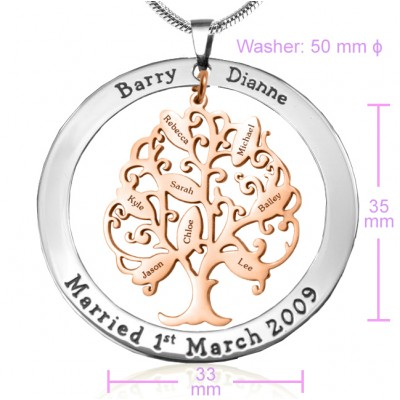 Personalised Tree of My Life Washer 8 - Two Tone - Rose Gold Tree