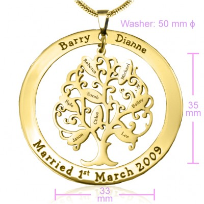 Personalised Tree of My Life Washer 8 - 18CT Gold
