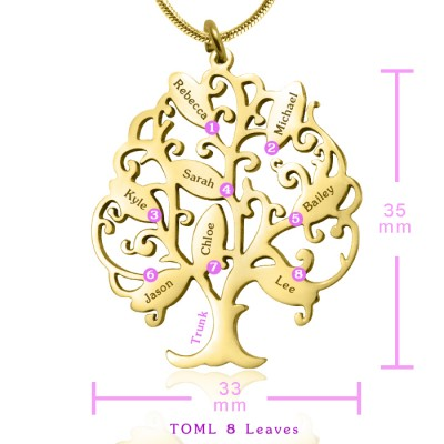 Personalised Tree of My Life Necklace 8 - 18CT Gold