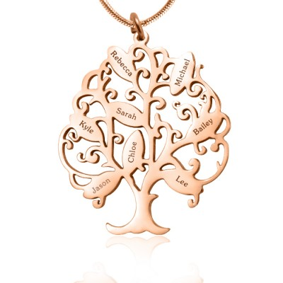 Personalised Tree of My Life Necklace 8 - 18CT Rose Gold