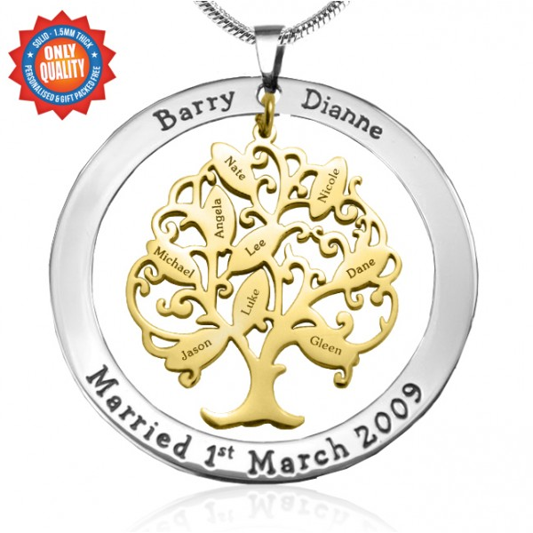 Personalised Tree of My Life Washer 9 - Two Tone - Gold Tree