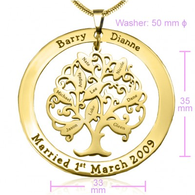 Personalised Tree of My Life Washer 9 - 18CT Gold