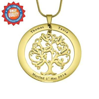 Personalised Tree of My Life Washer 7 - 18CT Gold