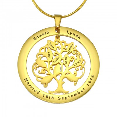Personalised Tree of My Life Washer Necklace 10 - 18CT Gold