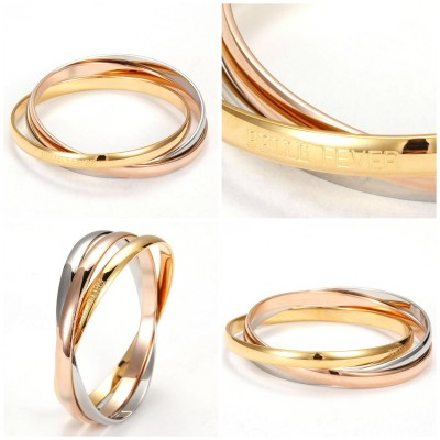 Solid Gold Three Tone Bangle Set