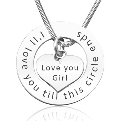 Solid White Gold Circle My Heart Necklace -