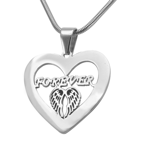 Solid White Gold Angel in My Heart Necklace -