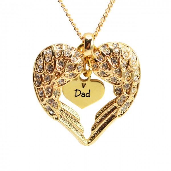 Personalised Angels Heart Necklace with Heart Insert - 18CT Gold