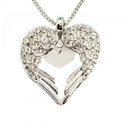 Solid White Gold Angels Heart Necklace with Heart Insert